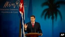 古巴外交部長羅德里格斯3月6日在古巴哈瓦那的記者會上。