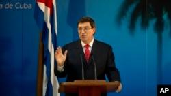 Menteri Luar Negeri Kuba Bruno Rodriguez berbicara dalam sebuah juma pers (foto: dok).