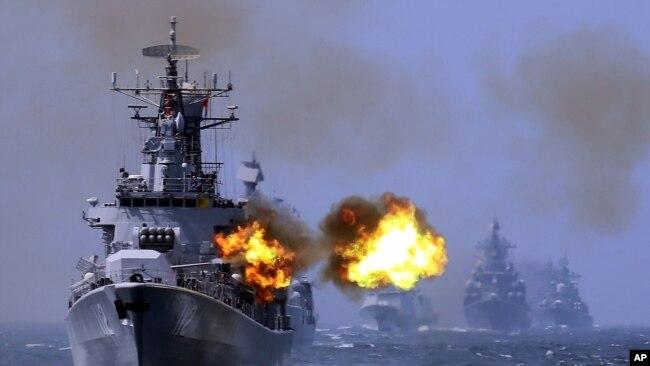 Hình ảnh một cuộc diễn tập của Trung Quốc ở Biển Đông.