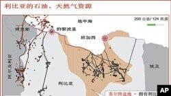 利比亞石油分布圖 中國3%的石油進口來自這裡。