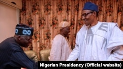 Buhari, (dama) da Tinubu, (hagu)
