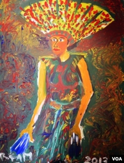 """Penari Dayak"" karya Irfan, salah seorang napi LP Wirogunan, Yogyakarta (VOA/Munarsih)"