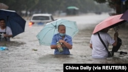 Lũ ở Hà Nam, Trung Quốc, ngày 20/7/2021.