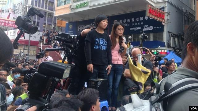 香港占中运动11月25日现场画面。(美国之音海彦拍摄)