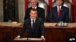 法国总统马克龙在华盛顿美国国会联席会议上发表演讲。(2018年4月25日)
