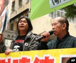 梁国雄议员 (左) 与支联会主席司徒华