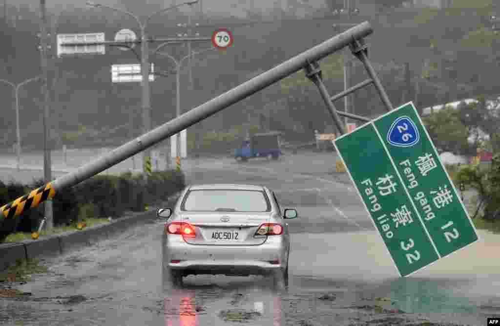 Tufão Meranti abate-se sobre o sul de Taiwan.