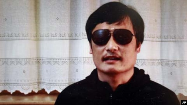 In this image made from video, blind legal activist Chen Guangcheng is seen on a video posted to YouTube on April 27, 2012 by overseas Chinese news site Boxun.com.
