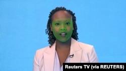 Model wireframe hijau menutupi wajah bagian bawah aktor selama pembuatan video reanimasi wajah sintetis, yang dikenal sebagai deepfake, di London, Inggris 12 Februari 2019. (Foto: Reuters TV via REUTERS)