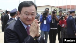 Former Thai prime minister Thaksin Shinawatra pictured in Cambodia on April 14, 2012.