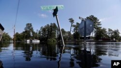 Street signs protrude through floodwaters in the aftermath of Hurricane Florence in Nichols, S.C., Friday, Sept. 21, 2018. (AP Photo/Gerald Herbert)