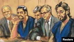 Mehmet Hakan Atila (solda mavi gömlekli sanık) ve Rıza Sarraf (sağda) kısa bir zaman öncesine kadar aynı duruşmada sanık olarak yargılanıyordu.