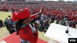 In good times ... Elizabeth, wife of Prime Minister Morgan Tsvangirai, addressing party supporters at White City Stadium in Bulawayo. (File Photo)