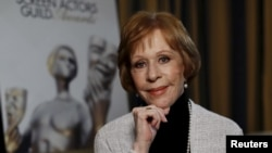 FILE - Actress Carol Burnett poses for a portrait in Pasadena, California, Jan. 7, 2016.
