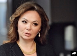 FILE - In this photo taken on Nov. 8, 2016, Kremlin-linked lawyer Natalia Veselnitskaya speaks to a journalist in Moscow.