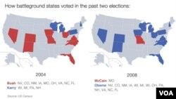 """Како """"клучните"""" држави гласаа на претходните избори"""