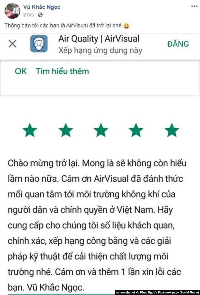 """Ông Vũ Khắc Ngọc """"chào mừng"""" AirVisual quay trở lại Việt Nam, 8/10/2019"""