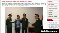 Cổng Thông tin Bộ Quốc phòng Việt Nam loan tin bắt giam và di lý ông Lê Quang Hiếu Hùng hôm 9/3/2019. Photo Bộ Quốc phòng.