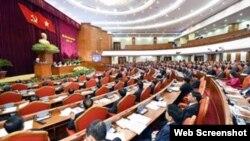 Phiên khai mạc Hội nghị Trung ương 6, ngày 4/10/2017. (Ảnh chụp từ Infonet.vn)