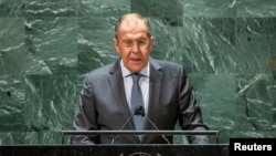 Russia's Foreign Minister Sergey Lavrov addresses the 76th session of the U.N. General Assembly in New York, Sept. 25, 2021.
