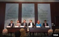 戰略與國際問題研究中心(CSIS)2018年4月12日在華盛頓召開中國海上絲綢之路研究報告發表討論會(美國之音葉林拍攝)