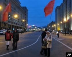 莫斯科市中心的俄共支持者