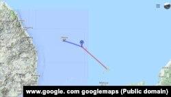 Dokdo/Takešima ostrvo između Južne Koreje (L) i Japana (D) gde se dogodio incident (Foto: Google maps)