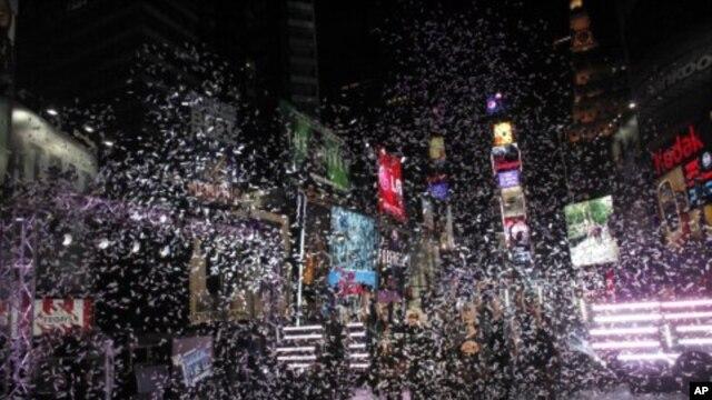 새해 전 날 미국 뉴욕의 타임스퀘어 주변. (자료사진)