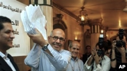 Mohammed ElBaradei, the Nobel Peace Prize winner and former U.N. nuclear chief, is surrounded by his young activists supporters following a breakfast meeting marking the first year of his campaign to press for changes within Egyptian politics, in Cairo, 0
