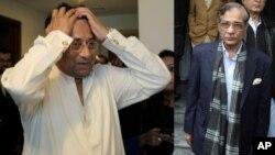 د سترې محکمې قاضي ثاقب نثار (ښي اړخ)، پخوانی صدر پرویز مشرف (کیڼ اړخ)