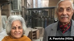 Retired army officer Ashok Joshi and his wife, Sushma Joshi, hope the innovation will help them counter air pollution when they are outdoors in New Delhi.