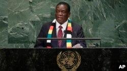 Mutungamiri wenyika VaEmmerson Mnangagwa vachitaura kumusangano weUnited Nations General Assembly. Gore rino nekuda kweCovid-19 havana kukwanisa kuuya kuNew York.