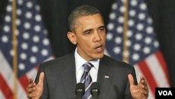 Presiden Barack Obama memaparkan kebijakan anggaran dalam pidato di Universitas George Washington, Washington DC hari Rabu (13/4).