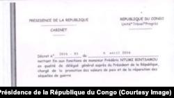 Copie du décret présidentiel démettant le pasteur Ntumi de ses fonctions