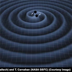 An artist's impression of two black holes circling each other, creating gravitational waves.
