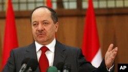 库尔德地区政府领导人对记者发表谈话