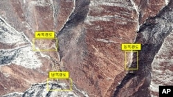 과거 핵실험을 실시한 바 있는 함북 길주군 풍계리 위성사진.