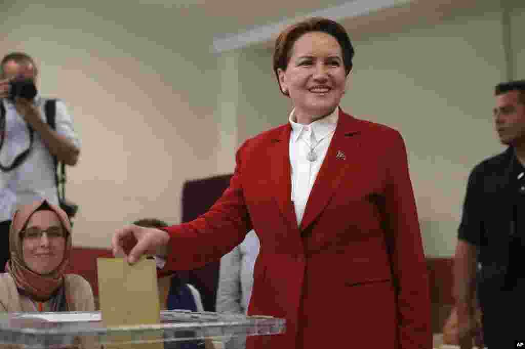 """Prezidentlikka nomzodlardan biri, """"Iyi"""" (Yaxshi) partiyasi yetakchisi Maral Oqchinor"""