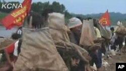 북한 조선중앙통신 웹사이트에 12일 게재된 황해남도 청단군의 수해복구 영상.
