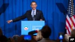 Tổng thống Obama phát biểu trong cuộc tiếp xúc với nhóm hoạt động Organization for Action (OFA) ở Washington, ngày 9/11/2015.
