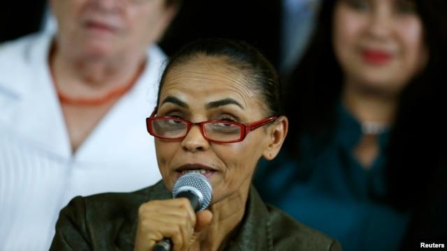 Brazilian politician Marina Silva speaks during a campaign event in Brasilia August 20, 2014.