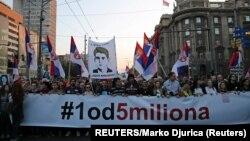 """Protest """"1 od 5 miliona"""" u Beogradu, foto Reuters, Marko Đurica"""