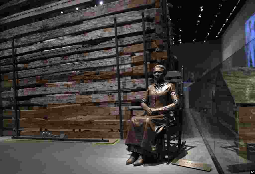A statue of pioneer Clara Brown, who was born a slave in Virginia around 1800, is on display at the National Museum of African American History and Culture in Washington, Sept. 14, 2016.