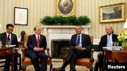 Tổng thống Mỹ Barack Obama và Tổng thống Miến Điện Thein Sein hội đàm tại Tòa Bạch Ốc.