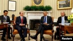 美國總統奧巴馬2012年5月20日在白宮與緬甸總統吳登盛會面(資料照片)