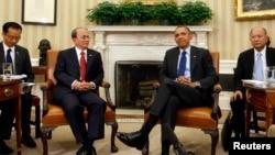 美國總統奧巴馬2013年5月在白宮會見緬甸總統吳登盛