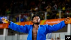 Popole Misenga won his first judo bout in Rio.