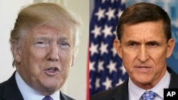 From left, President Donald Trump and former National Security Advisor Michael Flynn, who resigned Feb. 13, 2017.