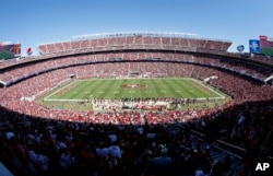FILE -A general view of Levi's Stadium during a NFL football game between the San Francisco 49ers and the Kansas City Chiefs in Santa Clara, California, Oct. 5, 2014