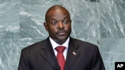 FILE - President Pierre Nkurunziza of Burundi addresses the 66th session of the United Nations General Assembly.